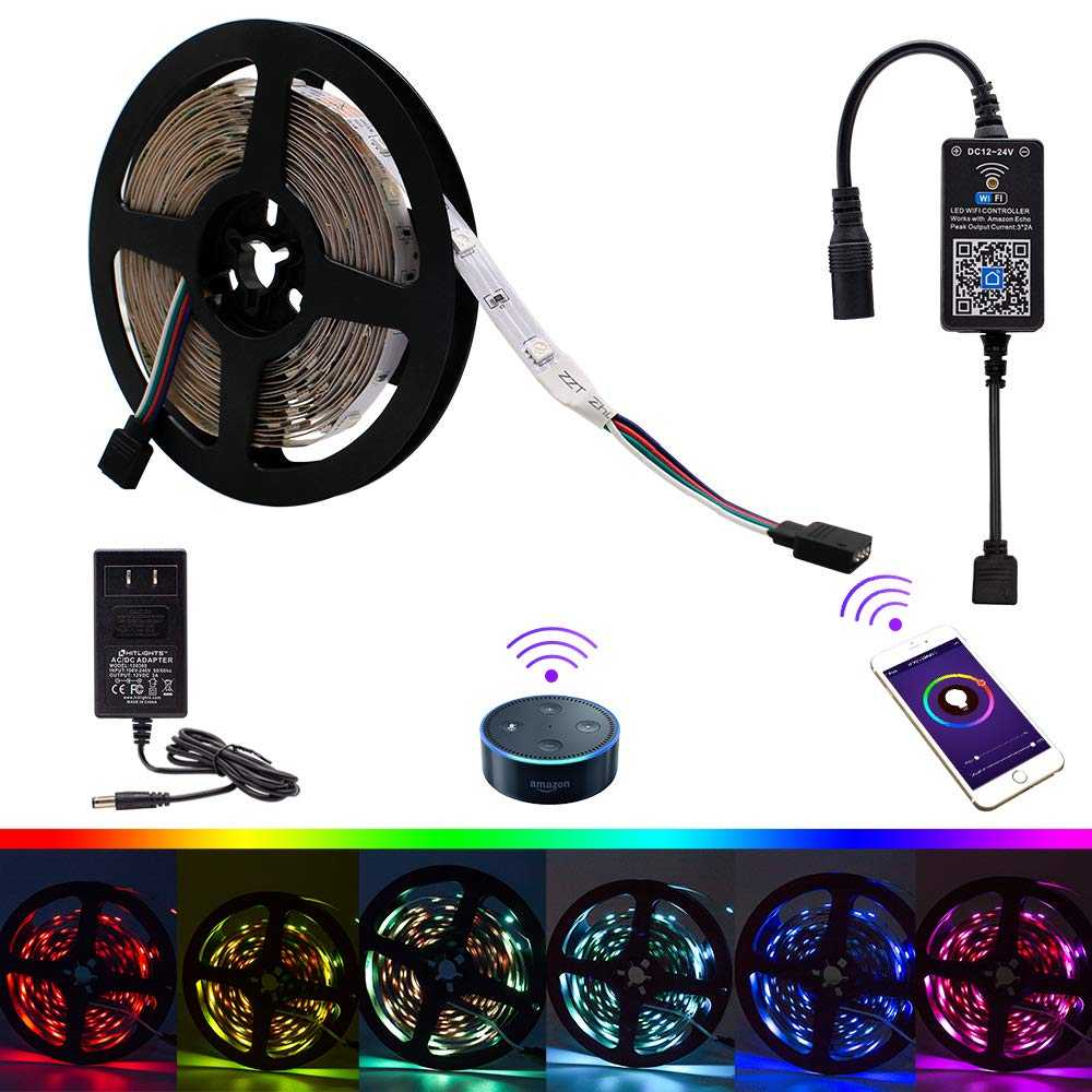 Hitlights Led Strip Lights Smart Phone Controlled Wifi Electric Fan Controller Best Price On Switch Control Wireless Voice Activated Light Kit 164ft 5050 Brg Compatible With