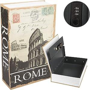 "KYODOLED Diversion Book Safe with Combination Lock, Safe Secret Hidden Metal Lock Box,Money Hiding Box,Collection Box,9.5"" x 6.2"" x 2 .2"",Rome"