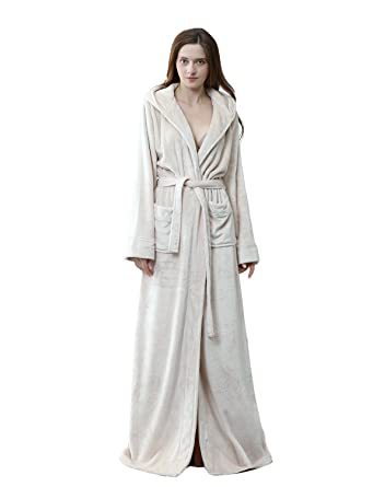 BELLOO Unisex Nightwear Flannel Dressing Gown Hooded Housecoat Full ... 9a536a2e1