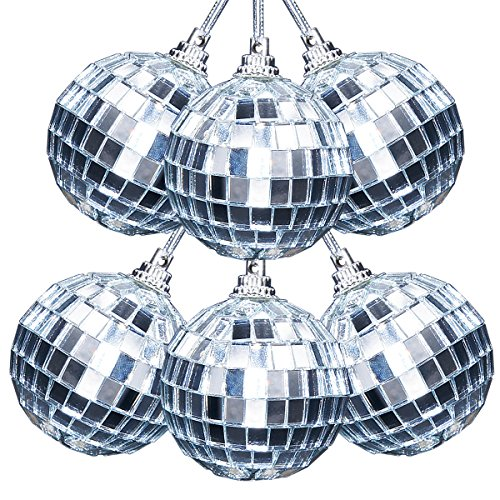 Ivenf 6 Pcs Mirror Ball 2 inch, 70's Disco Party Decoration, Christmas Tree Wedding Birthday Party Ornaments ()