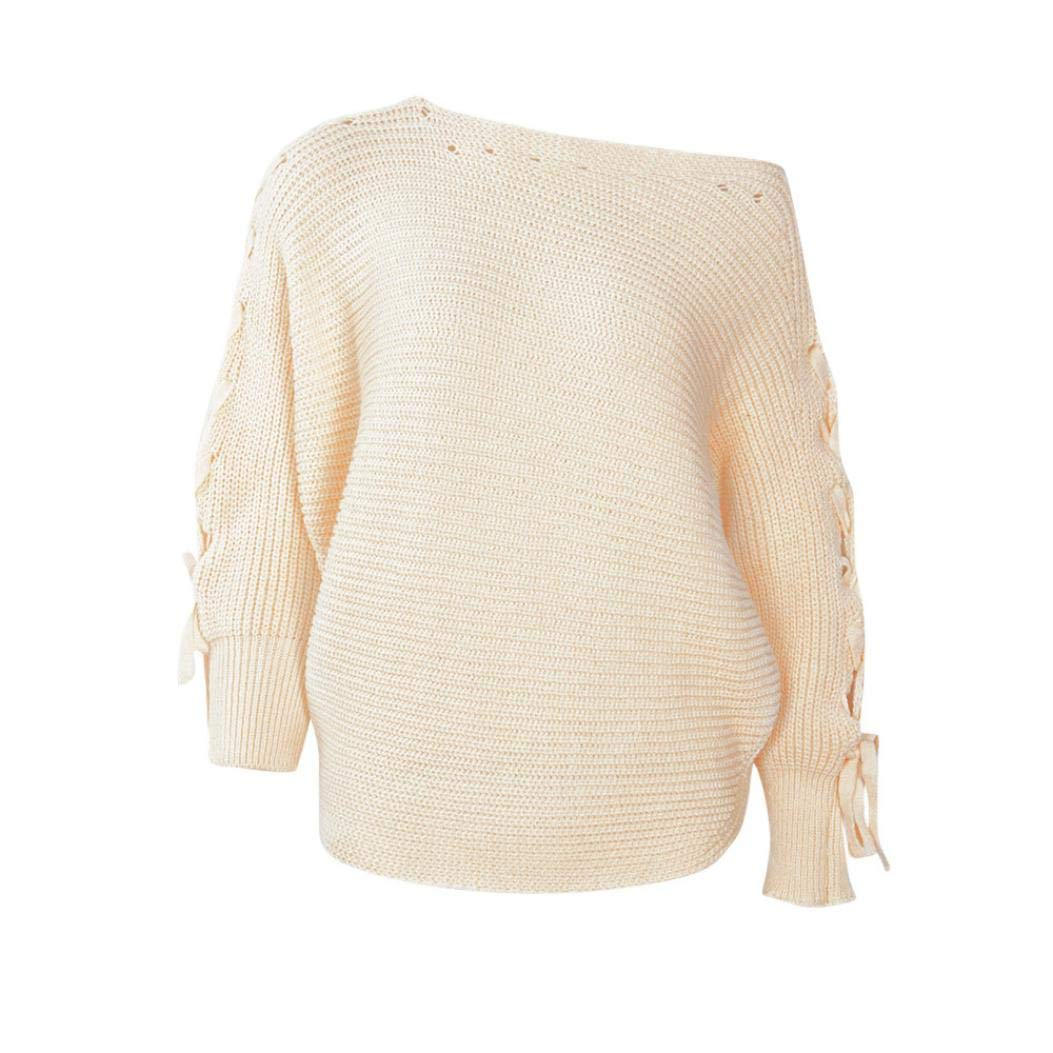 Akwell Women's Ladies Fashion Solid Color Casual Long Sleeve Mutton Jumper Blouse Tops