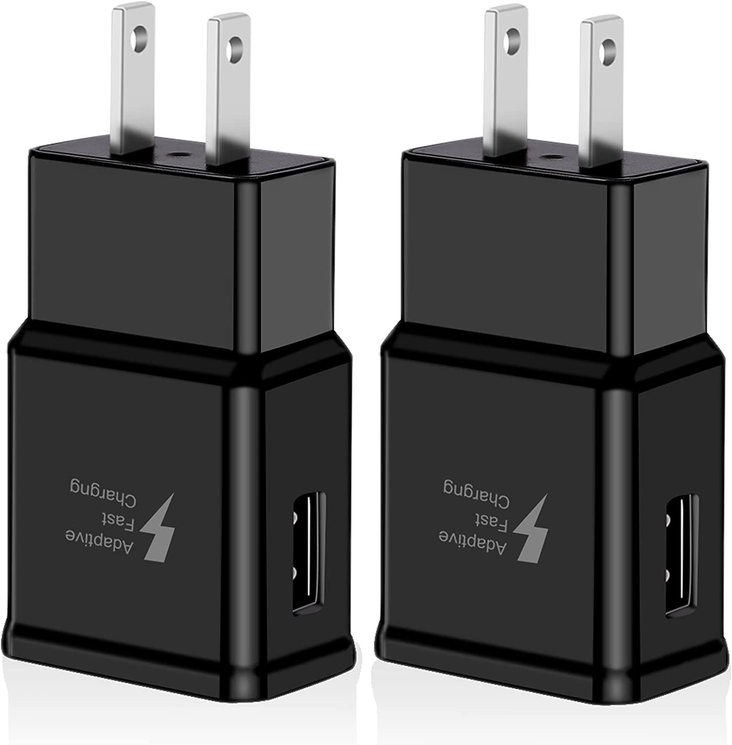 2 Pack Adaptive Fast Charging Block USB Wall Charger Plug Adapter Compatible with Samsung Galaxy S21/S21+/S21Ultra/S20/S20+/Note 20/10/S10 S9 S8 S7 S6 Edge Plus Active, Note 5 8 9 Quick Charge (Black)