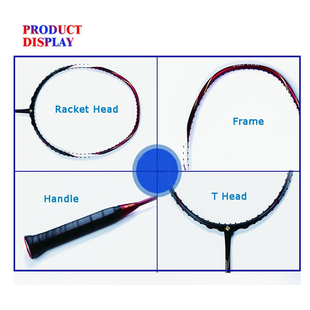 MingYuHui LingMei Single Dedicated Nano-Carbon Fiber Badminton Racket, Professional Manufacturing Technology, Including Badminton Bag and 3 Racket Anti-Skid Belt. (C9, Red) by MingYuHui (Image #5)