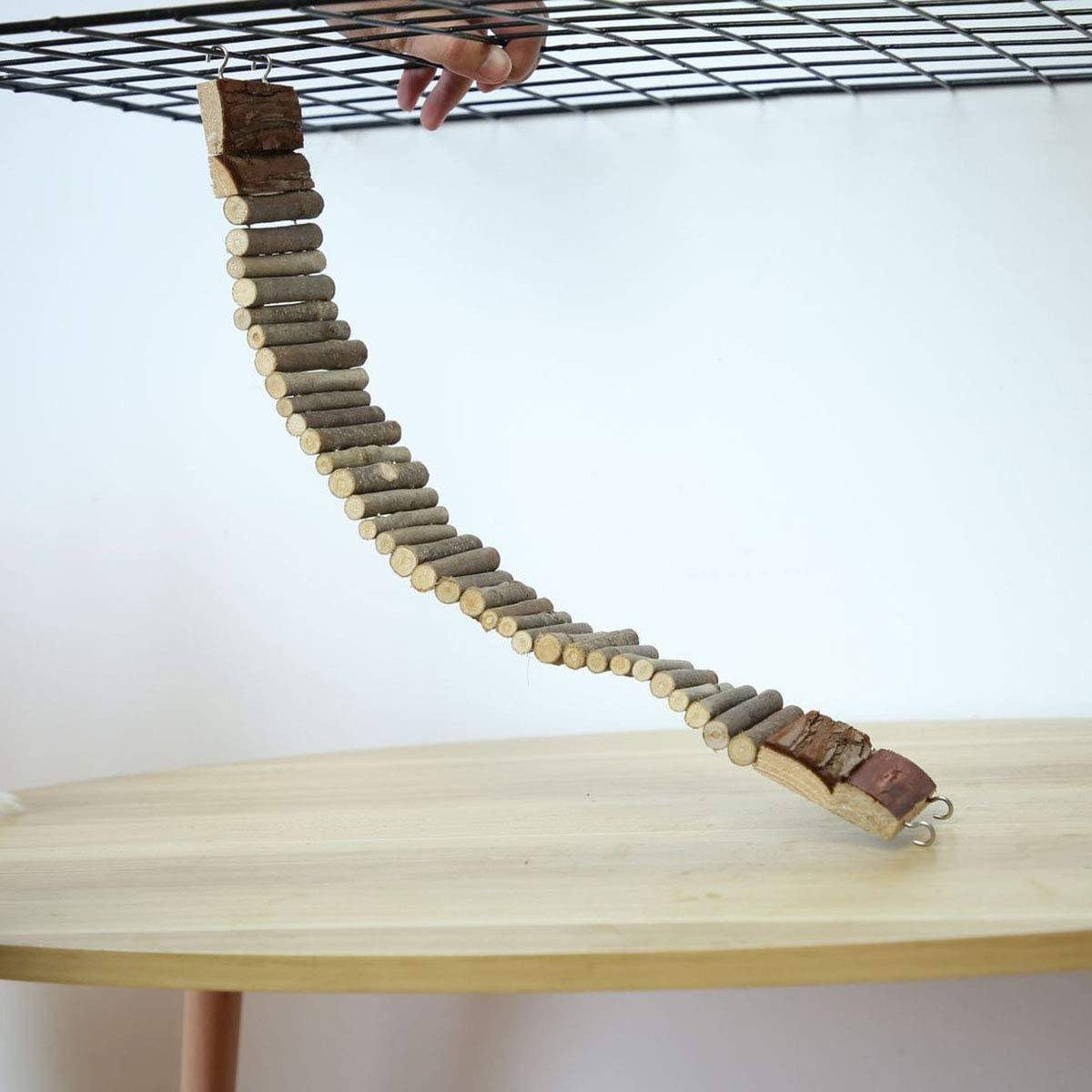 Haokaini Pet Wooden Climbing Ladder Flexible Fence Bridge for Hamster Bird Wooden Ladder Bridge Made with Raw Wood Easy Installation for Small Birds