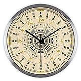 Imoerjia Creative Arts Chinese 24 Solar Terms Tai Chi Wellness Living Room Wall Chart Mute Wall Clock Clock Quartz Clock, 12 Inch, Metallic Silver Wire Drawing Box