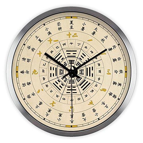 Imoerjia Creative Arts Chinese 24 Solar Terms Tai Chi Wellness Living Room Wall Chart Mute Wall Clock Clock Quartz Clock, 12 Inch, Metallic Silver Wire Drawing Box