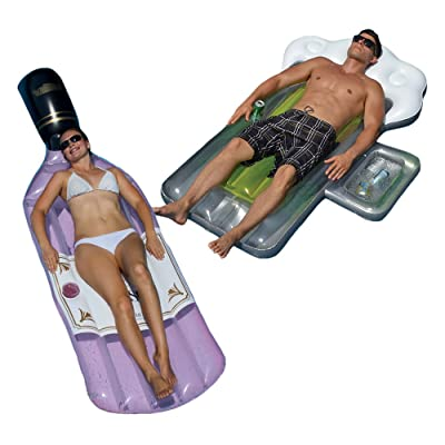 Swimline Bottle of Rose and Beer Mug Swimming Pool Floats Combo Pack: Toys & Games