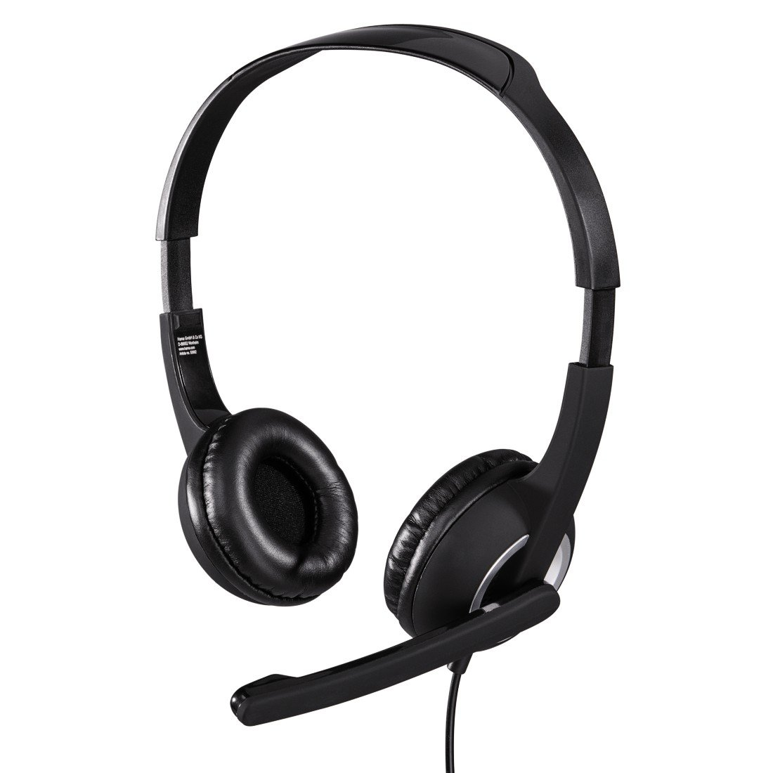 Hama PC Headset Essential HS 300 mit Mikrofon (ultra leicht, On-Ear, gepolsterte Ohrmuscheln, Stereo, Lautstä rkeregler am Kabel, 2 m Kabellä nge, 3,5 mm Klinke) schwarz 00053982