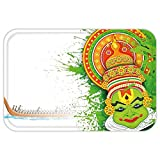 VROSELV Custom Door MatAsian Ritualistic Indian Asian Ceremonial Dance Figure and Boat on River Illustration Green and White