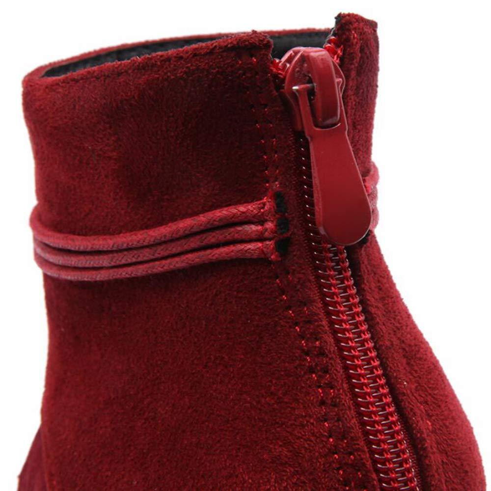 CITW Herbstliche Weibliche Stiefel Tassel Mit High Heel Und Größe Big Größe Und Weibliche Stiefel Feine Ferse Kurze Stiefel Warme Stiefel,rot,UK1 EUR35 355b7b