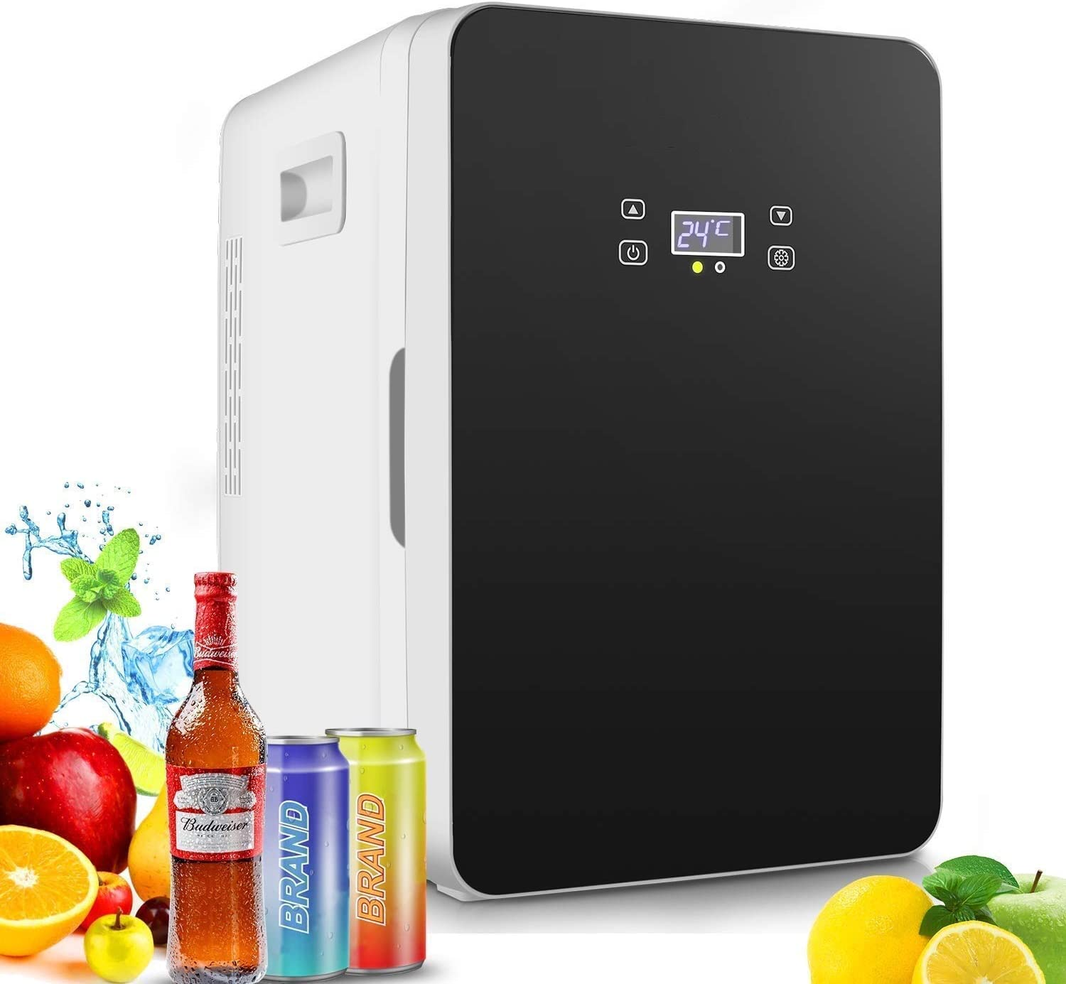 20-liter Compact Cooler/Warmer Mini Fridge/Wine Cooler with LCD Display + Digital Thermostat + Cooling for Cars, Road Trips, Homes, Offices & Dorms