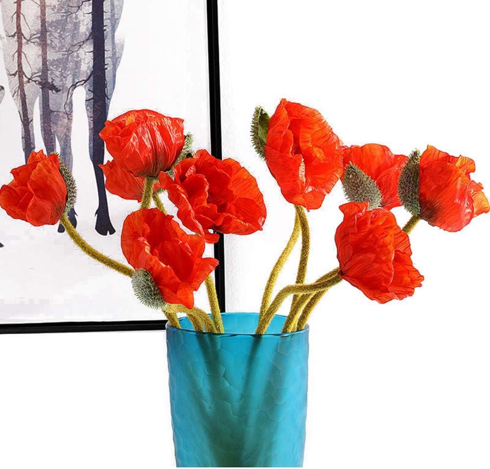 "Artfen 5 Pcs Artificial French Corn Poppy Silk Poppy Flocking Long Stem Flowers Home Wedding Party Decor 25"" High No Vase Sunset Orange"