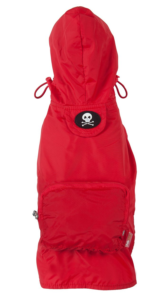 fabdog Packable Dog Raincoat, XXL (Red)