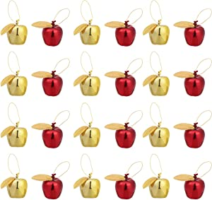 Amosfun 24pcs Mini Hanging Apple Ornaments Christmas Tree Decoration Christmas Baubles for Xmas Holiday Party Decoration Supplies (Red Golden)