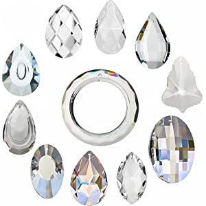 H&D 11pcs Clear Crystal Chandelier Lamp Lighting Drops Pendants Balls Prisms Hanging Glass Prisms Parts Suncatcher Home/House Decor
