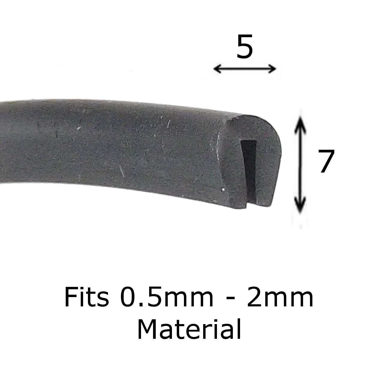 U section black rubber car edge protective trim 7mm x 5mm The Metal House