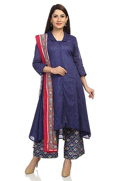 Amazon.com: BIBA - Traje asimétrico de algodón azul: Clothing