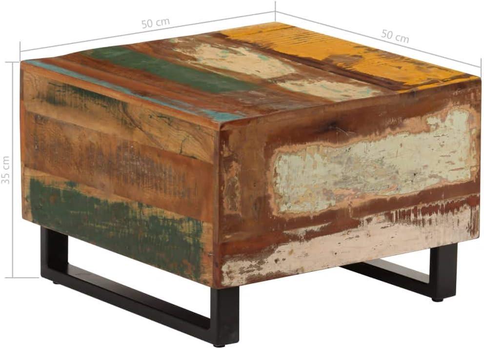Tidyard Mesas de Centro Mesas de Centro Vintage de Madera Maciza Reciclada y Hierro 50 x 50 x 35 cm