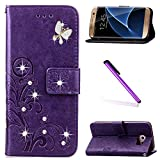 EMAXELERS S6 Edge Wallet Case, Bling Diamond Butterfly PU Leather Flip Protective Cover with Stand for Samsung Galaxy S6 Edge,Purple Clover with Butterfly and Diamonds