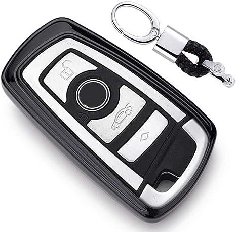 Imagen deNegro Funda de TPU Suave para Llave + Llavero para Coche BMW 1 3 4 5 6 7 Series BMW X3 X4 X5 X6 M3 M4 M5 M6 Remote Smart 3 4 Buttons