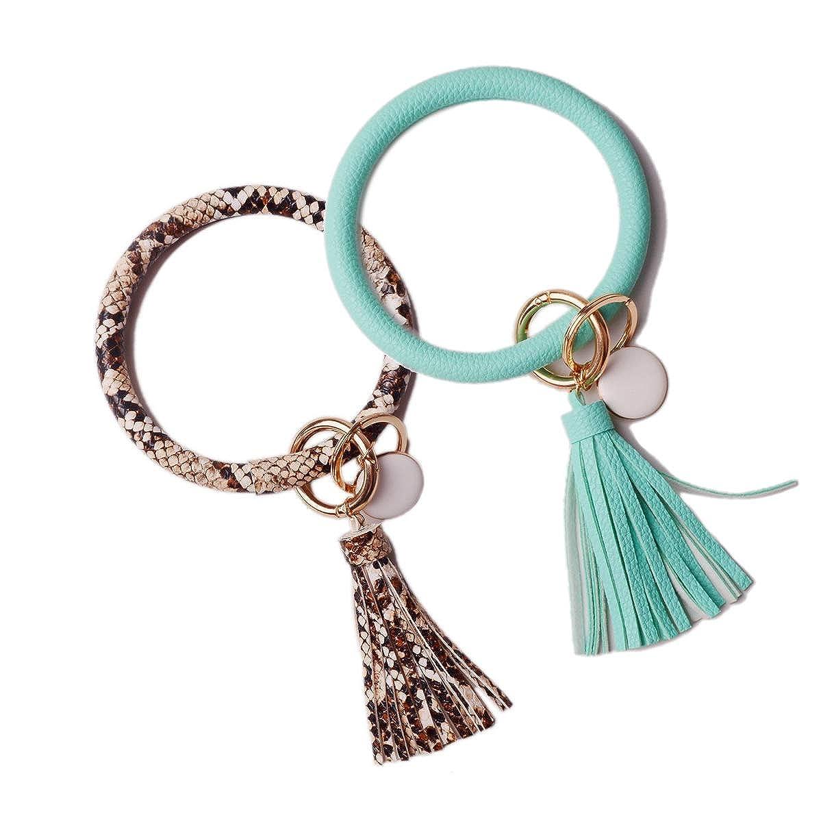L/&N Rainbery PU Leather Oversized Bracelet Keychain Circle Tassel Wristlet Bangle Keyring for Women Girls