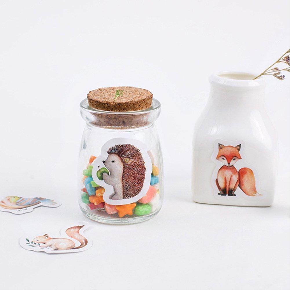 Qietingfengyin 5 set Kawaii Animal Fox Birds Squirrel Hedgehog Rabbit Cute Stationery Sticker Baking Gift Packing Label School Supplies for Kids 225 pcs