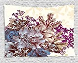 Ambesonne Floral Tapestry, Hand Drawn Pastel Color Flowers with Butterflies Vintage Detailed Image, Wall Hanging for Bedroom Living Room Dorm, 60WX40L Inches, Blue Purple White Brown