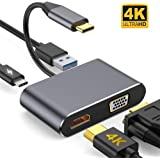 USB C to HDMI VGA Adapter,XVZ 4-in-1 USB C Hub with 4K HDMI, 1080P VGA,USB 3.0,USB C PD Charging,Compatible with Nintendo Switch/MacBook Pro/Air/ipad Pro 2018/Dell XPS/Samsung and More