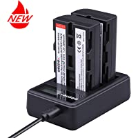 Replacement NP-F550/NP-F570 Battery(2 Pack) with USB Dual Slot Charger Set Grepro Li-ion Rechargeable Battery for NP F970, F770, F960, F530, F330, F570, CCD-SC55, TR516, TR716, TR818, TR910,and More