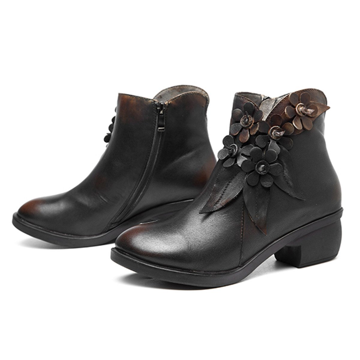 Socofy Leather Ankle Bootie, Women's Vintage Handmade Fashion Shoes Leather Boot Rose Floral Shoes Fashion Oxford Boots B077G4W75M 7 M US|Dark Grey c19d4a