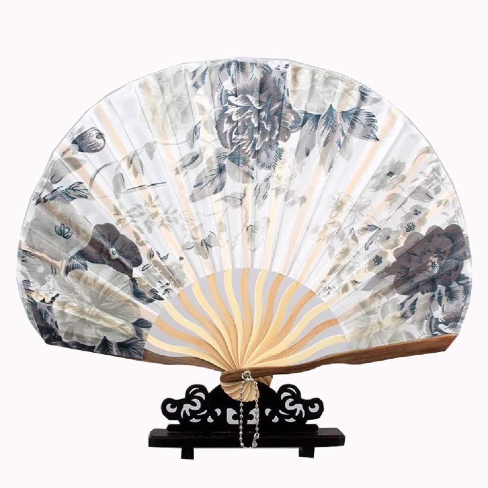 Nero Geisha Seta e bamb/ù Stile Giapponese XMorning Ventaglio Elegante a Forma di Conchiglia