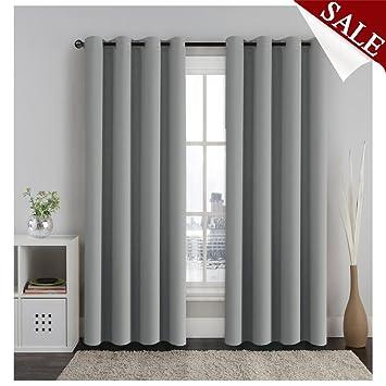 H.Versailtex Vorhang Verdunkelung Ösen Gardinen Schlafzimmer Thermogardine  Ösen,Energiespar & Wärmeisolierend – Grau 2er Set, 213x132 cm(H x B)