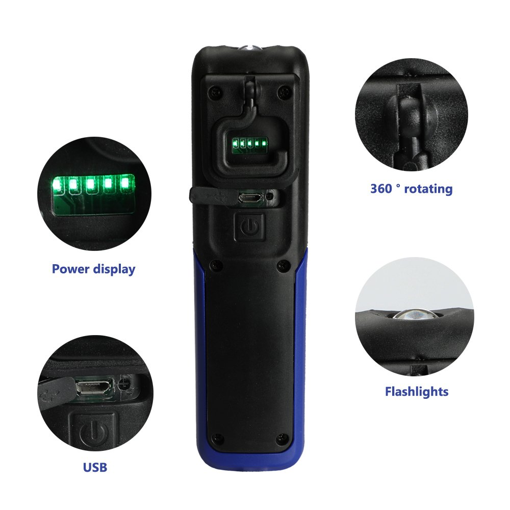 Three trees LED Cordless Work Light COB Rechargeable Portable Hand Held Work Lamp With Hanging Hook, Magnetic Holders, 1200mAh Charging, Multifunction Flashlight (blue)