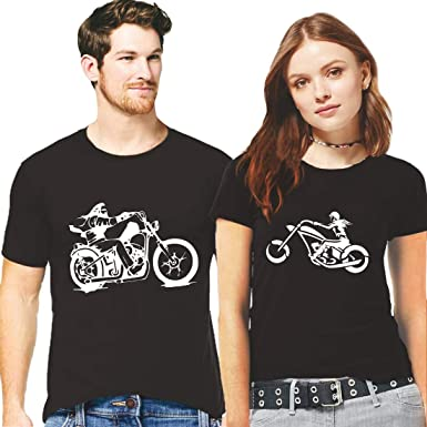 1bdc0e1e Hangout Hub Couple Tshirts Mr and Mrs Bike Riders Printed Black Color Men L  Women S