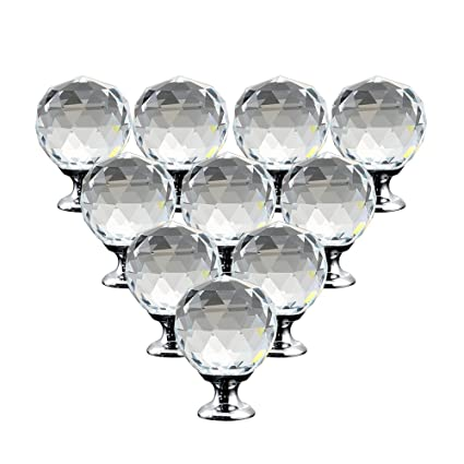 10pcs Crystal Closet Knob Handles Glass Cabinet Door Knobs Round