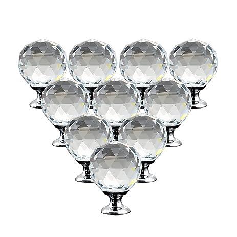 10pcs Crystal Closet Knob Handles Glass Cabinet Door Knobs Round ...