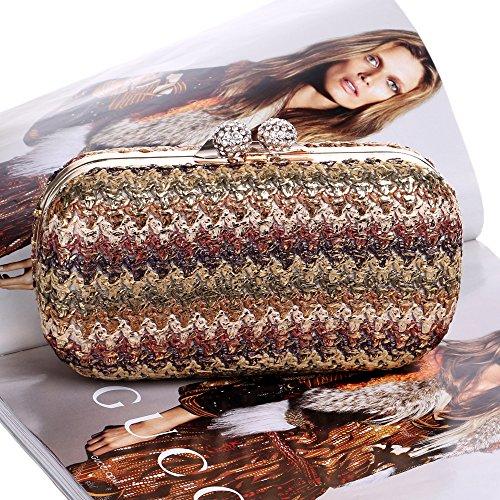 Crossbody Hand Bag Gold Messenger Women Bag Wedding Woven GXYCP Bag Dinner Nightclub Party Brown Bag Fashion x6HA8zw
