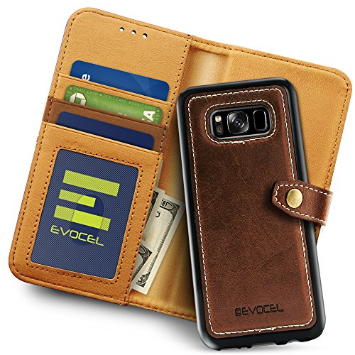 - Galaxy S8 Plus Case, Evocel Evocel [Renaissance Series] Detachable Wallet Case with 3 Card Slots & Side Pocket for Galaxy S8+ (SM-G955) (2017 Release), Brown (EVO-SAMG955-RW20)