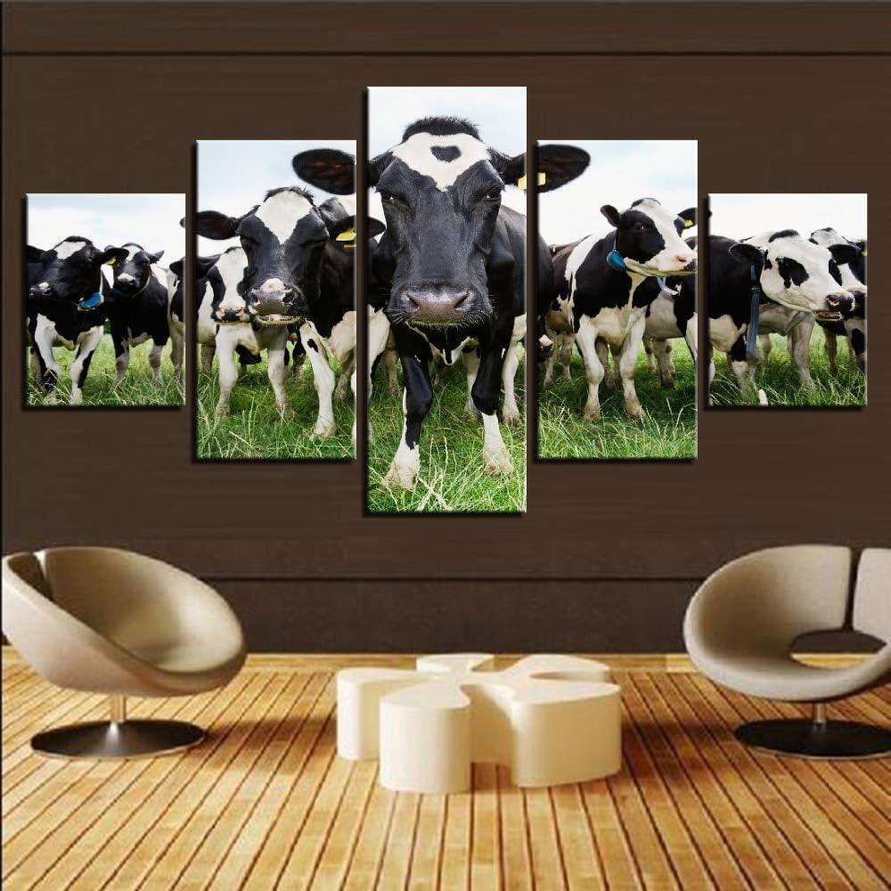 Milk Cows Herd On Farm Grass Pasture Framed 5 Piece Panel Canvas Wall Art Print