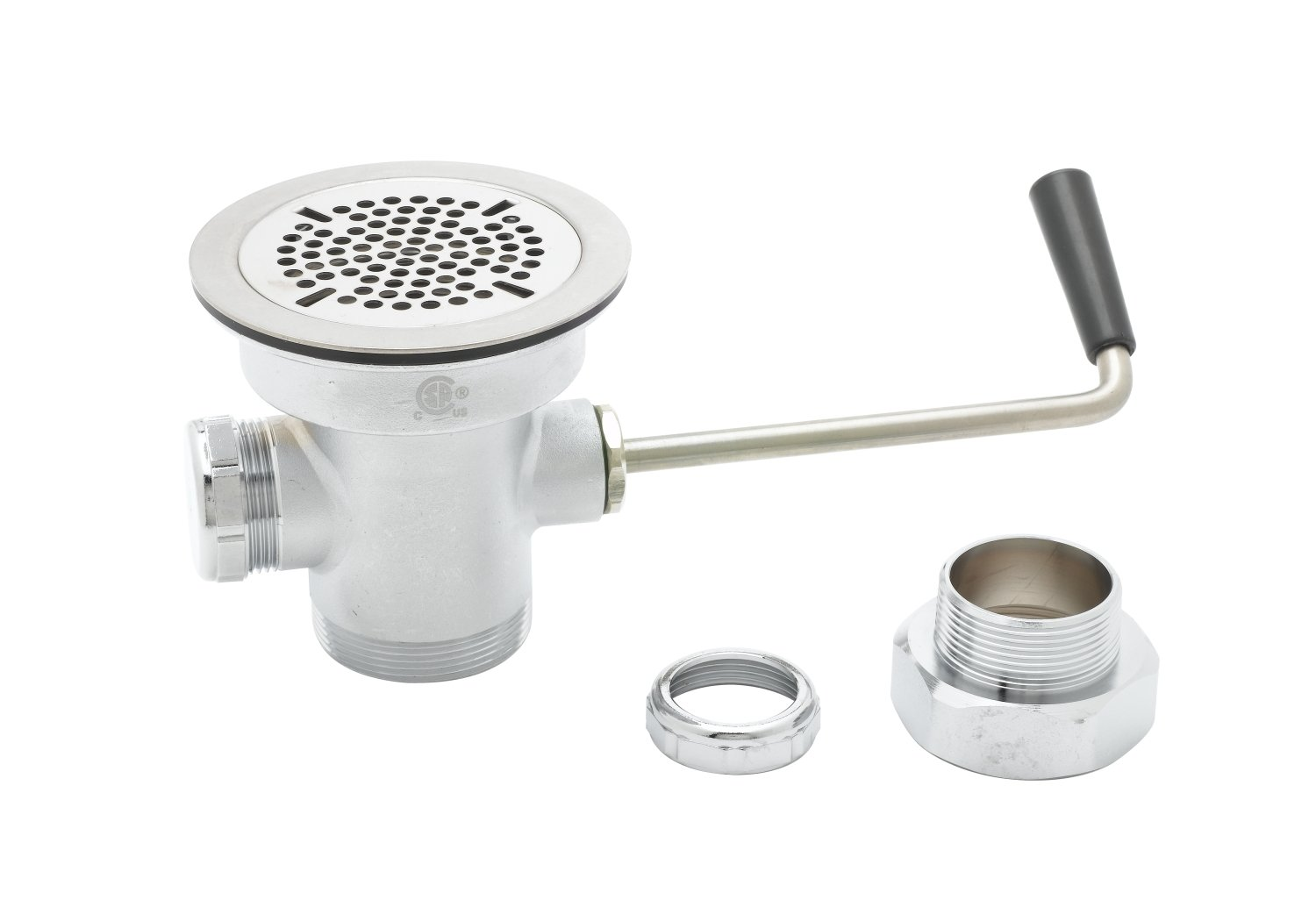 T&S Brass B-3950-XS Waste Drain Valve, Short Twist Handle, 3-1/2-Inch X 2-Inch and 1-1/2-Inch Adapter