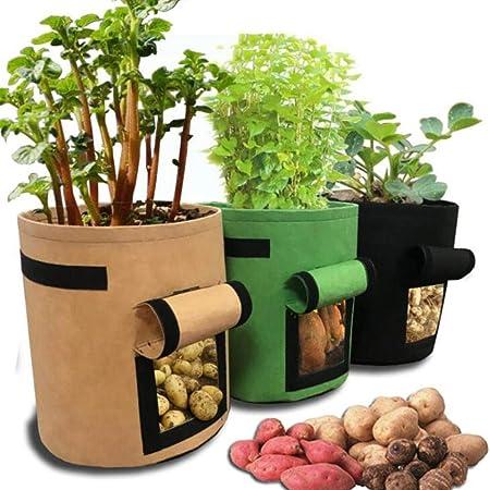 WSNDD Bolsas de Cultivo de Plantas en macetas en Sacos de Patatas de Huerta de hortalizas de Invernadero hidratante jardín jardín Vertical de semillero Bolsa,Brown 25x30 (4gal): Amazon.es: Hogar