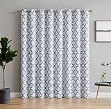 curtain panels for doors - HLC.ME Lattice Print Thermal Grommet Blackout Patio Door Window Curtain for Sliding Glass Door - Platinum White & Grey - 100