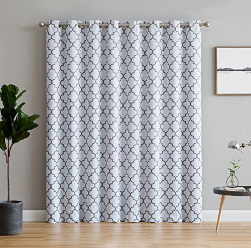 HLC.ME Lattice Print Thermal Grommet Blackout Patio Door Window Curtain for Sliding Glass Door - Platinum White & Grey - 100