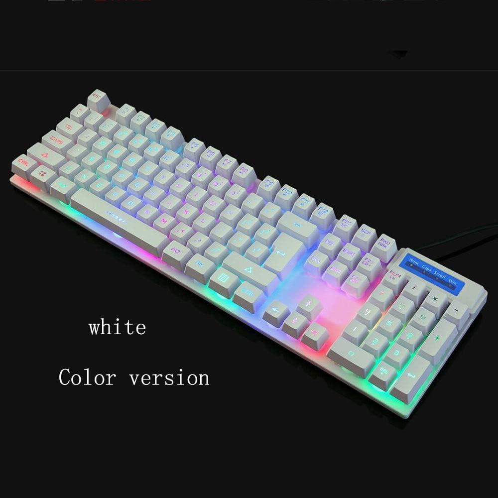 Color : White TONGZHENGTAI Illuminated Keyboard Biz Wired Raincoat Keyboard Desktop Notes Universal Keyboard High Speed