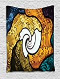 Ambesonne Trippy Decor Tapestry, Pop Art Style Funky Unusual Stained Glass Window Thai Art Pattern Traditional Image, Wall Hanging for Bedroom Living Room Dorm, 60WX80L Inches, Multi