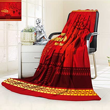 flannel fleece luxury blanket happy chinese new year card is lanterns on tree and firework and