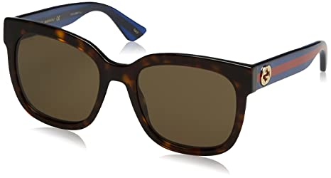 aac052ffdd13 Image Unavailable. Image not available for. Colour: Gucci GG0034S-004-54  Blue Square Sunglasses