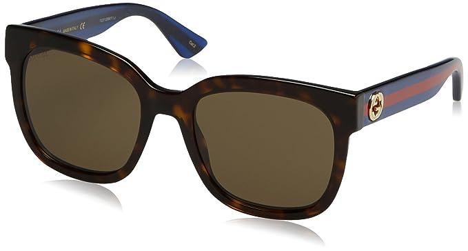 Gucci Damen Sonnenbrille GG0097S 001, Schwarz (Black/Grey), 56