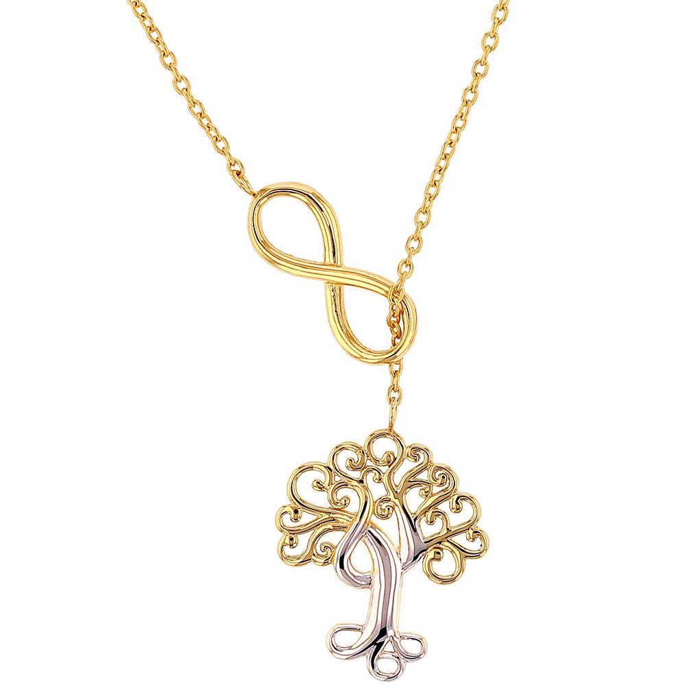 Solid 14K Yellow Gold Simple Tree of Life with Infinity Sign Pendant Adjustable Choker Necklace