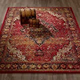 "City Collection Sculpted Effect Antique Faded Medallion Red Area Rug - 5x7 (5'3"" x 7'3"")"
